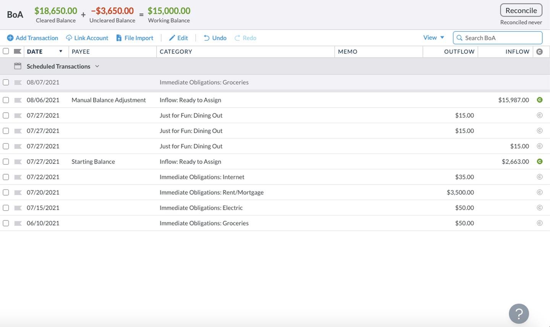 YNAB app manual transaction